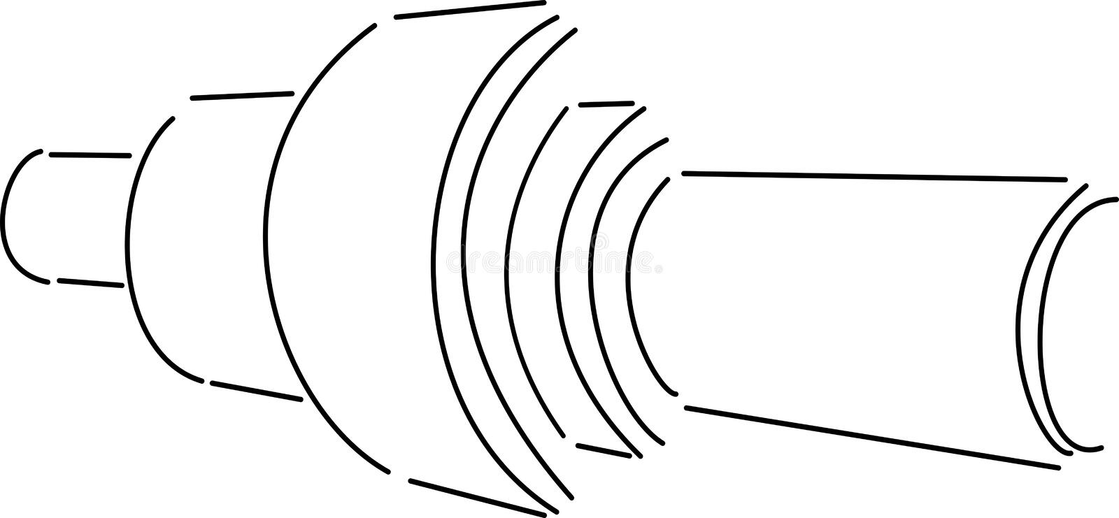 The Shaft. Simple steel shaft isometric view vector illustration