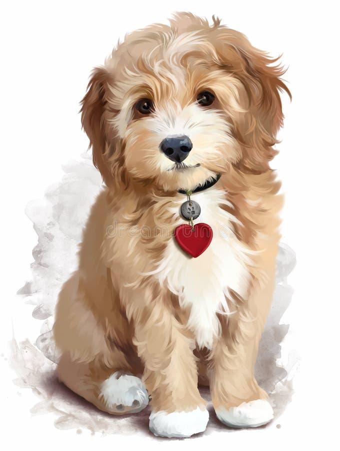 Shaggy желтый щенок иллюстрация штока