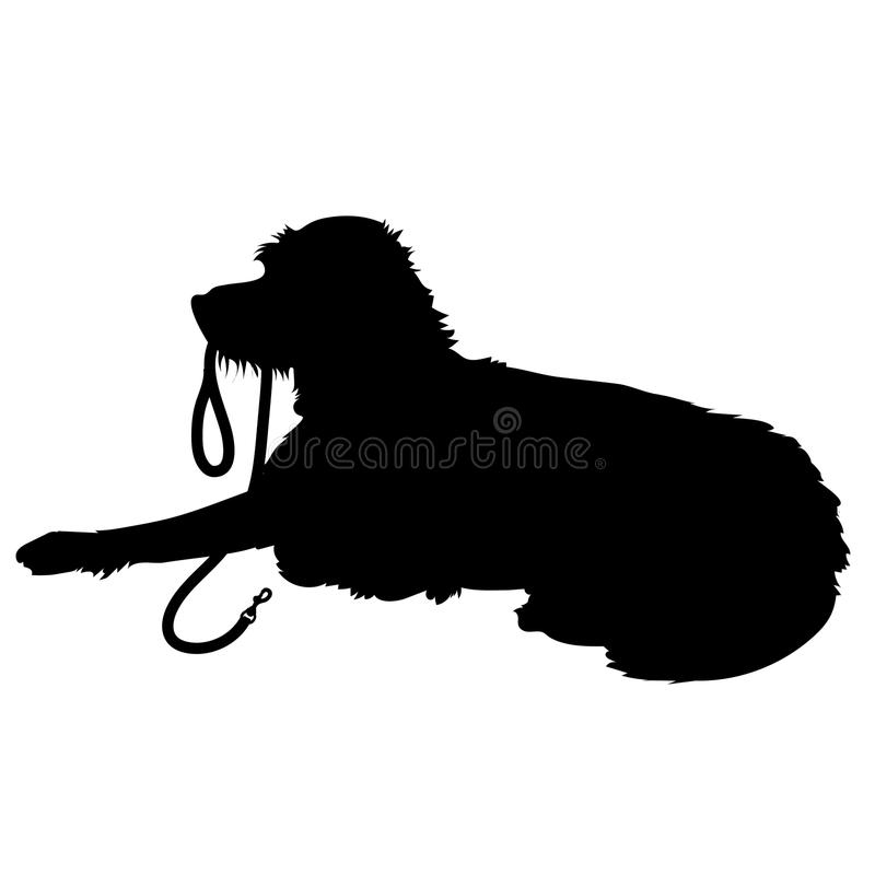 shaggy dog silhouette stock vector illustration of strap