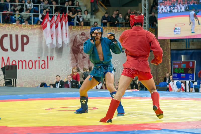 Shagin Vadim (azul) contra Nurlikov Mekan imagen de archivo