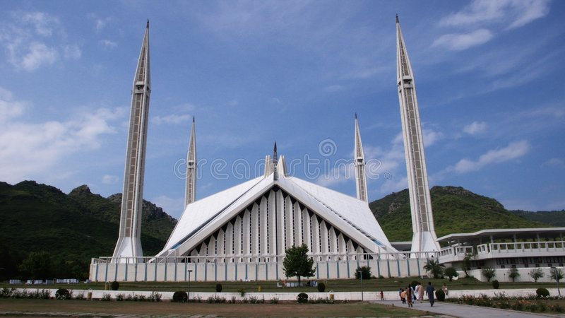 The Shah Faisal Mosque royalty free stock photo
