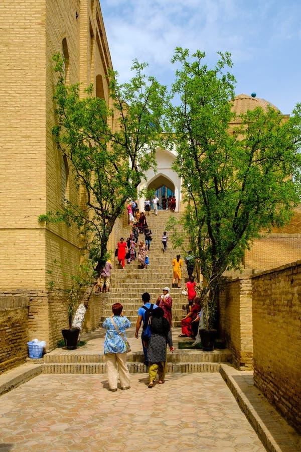 Shah-I-Zinda memorial complex, necropolis in Samarkand, Uzbekistan. stock photo