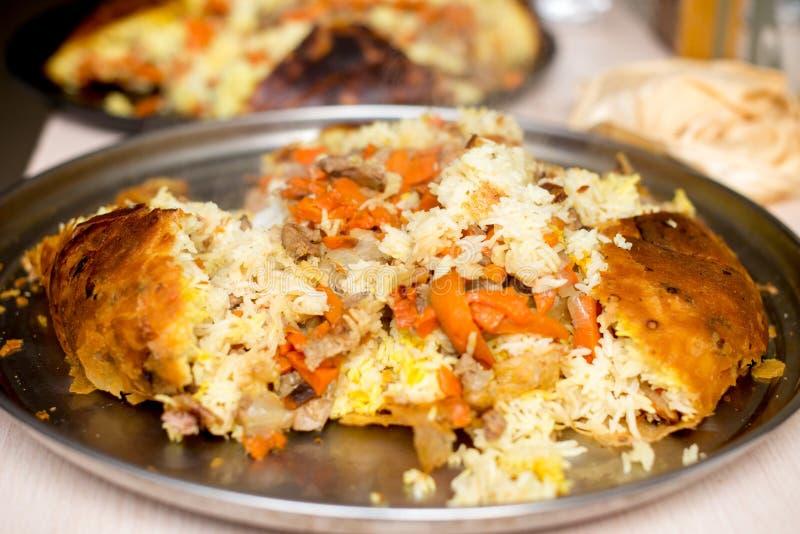 Shah pilaf. Khan pilaf in a pita. Traditional oriental dish. Shah pilaf. Khan pilaf in a pita. Traditional oriental dish stock photos
