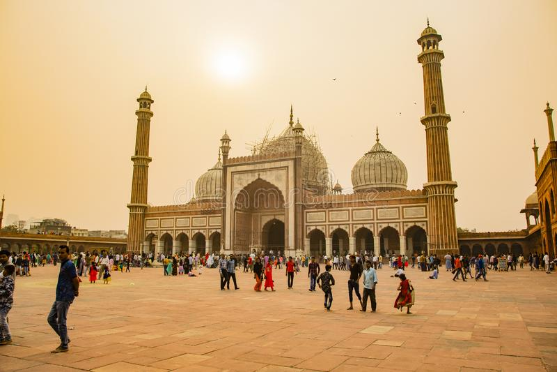 Shahi Jama Masjid, Delhi, Indien arkivfoto