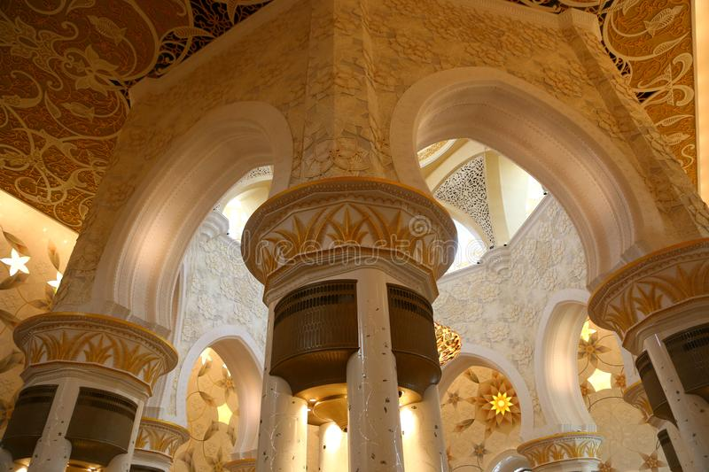 Art of Shaiekh Zayed Mosque - Abu Dhabi. Shaiekh Zayed Grand Mosque - Abu Dhabi - United Arab Emirates. It is the largest mosque in the country stock photos
