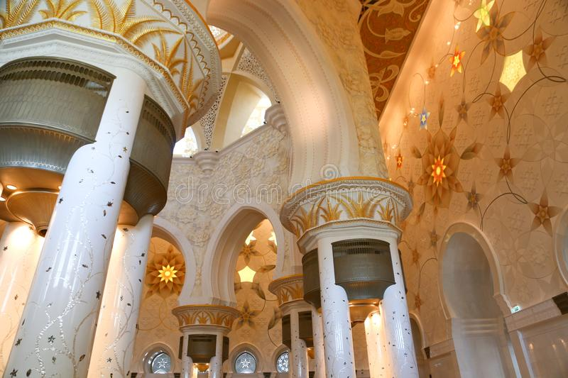 Art of Shaiekh Zayed Mosque - Abu Dhabi. Shaiekh Zayed Grand Mosque - Abu Dhabi - United Arab Emirates. It is the largest mosque in the country royalty free stock photo