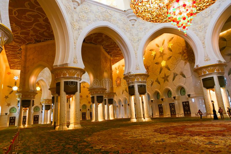 Inside Shaiekh Zayed Mosque - Abu Dhabi. Shaiekh Zayed Grand Mosque - Abu Dhabi - United Arab Emirates. It is the largest mosque in the country royalty free stock images