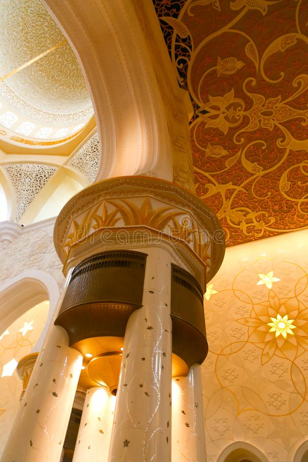 Inside Shaiekh Zayed Mosque - Abu Dhabi. Shaiekh Zayed Grand Mosque - Abu Dhabi - United Arab Emirates. It is the largest mosque in the country stock images