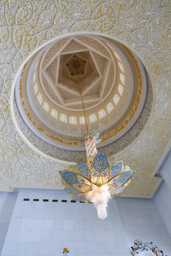 Inside Shaiekh Zayed Mosque - Abu Dhabi. Shaiekh Zayed Grand Mosque - Abu Dhabi - United Arab Emirates. It is the largest mosque in the country stock photos