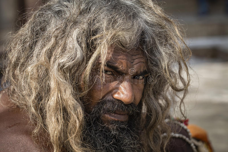 Shaiva sadhu,圣洁者画象在瓦腊纳西,印度 图库摄影