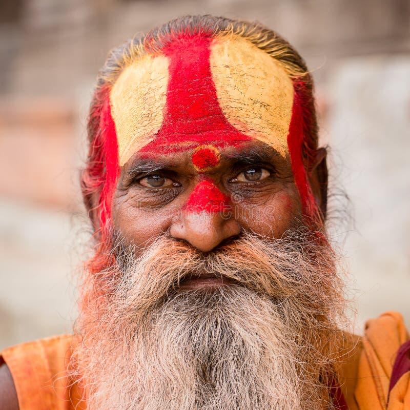 Shaiva sadhu, Pashupatinath寺庙的,加德满都圣洁者画象  尼泊尔 免版税图库摄影