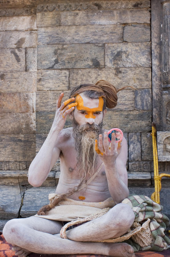 Shaiva sadhu (holy man) royalty free stock photo