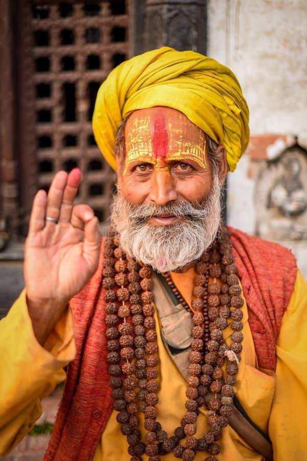Shaiva sadhu (holy man) in Kathmandu, Nepal royalty free stock photography