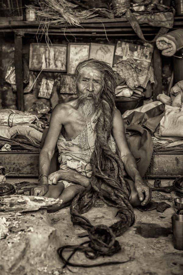 Shaiva sadhu holy man living in Pashupatinath Temple, Kathman royalty free stock photo