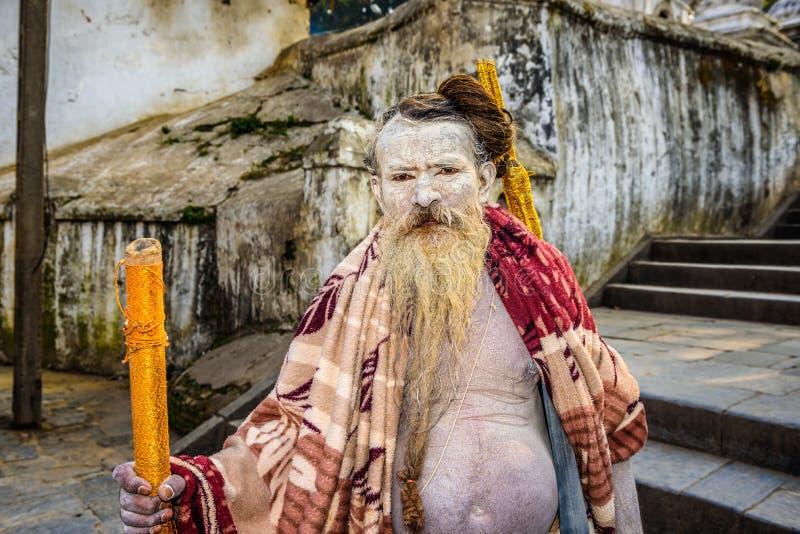 Shaiva sadhu holy man in Pashupatinath Temple in Nepal stock image