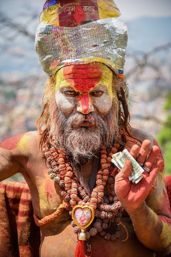 Shaivasadhu (heilige mens) in Katmandu, Nepal royalty-vrije stock foto