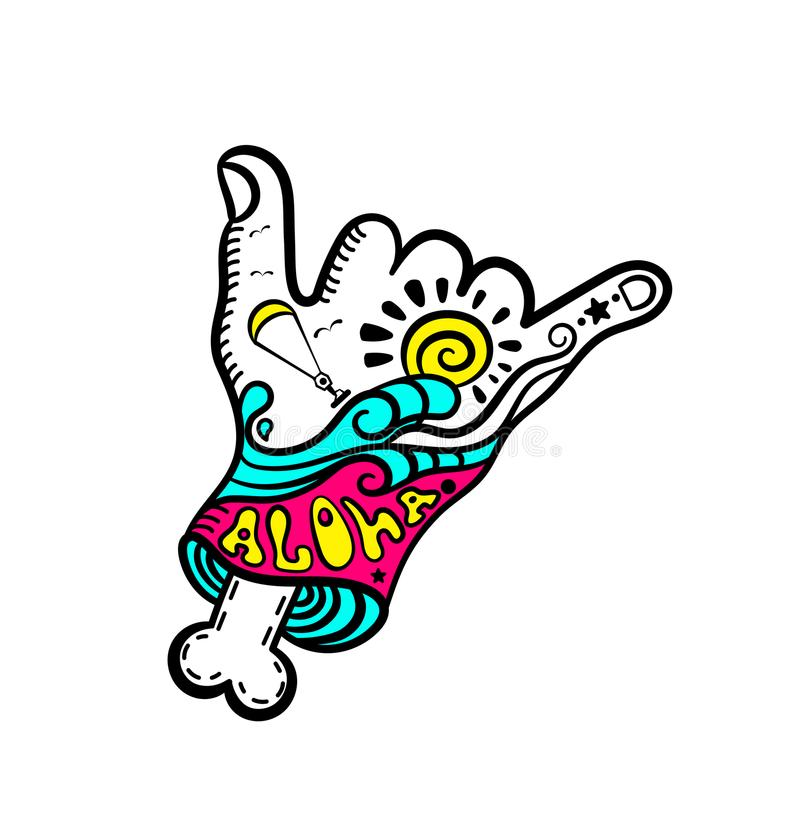 Shaka hand surf sign vector.Cartoon Hang Loose Hand Gestures.Surfing Waves.Hand drawn vector hand with bone.Zombie.Kitesurfing and. Windsurfing. Wakeboarding vector illustration