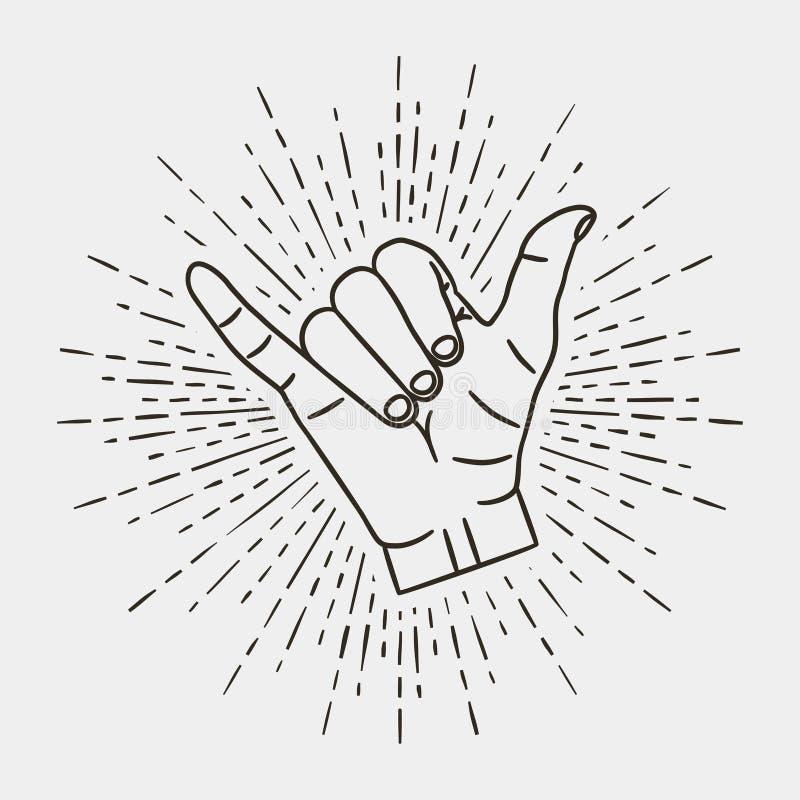 Shaka - surfing ręki gest z rocznika sunburst wektorem ilustracja wektor