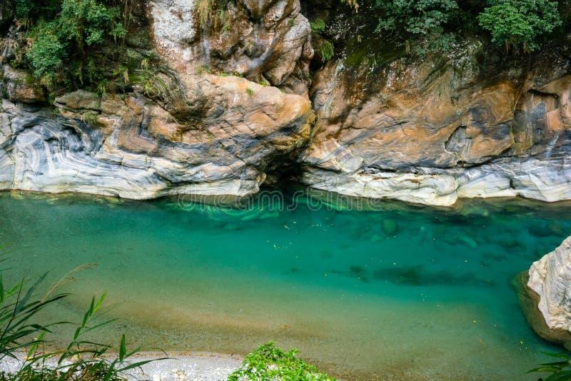 Shakadang wycieczkuje śladu rzecznego widok z kryształem - jasna woda i m obraz royalty free