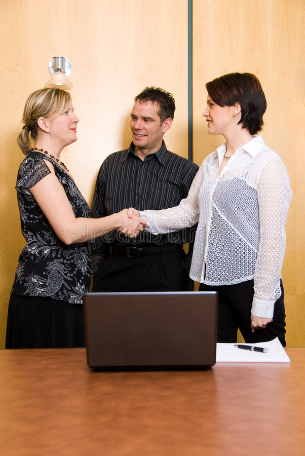 Shake on it. Three business colleagues in a boardroom in a meeting stock photo