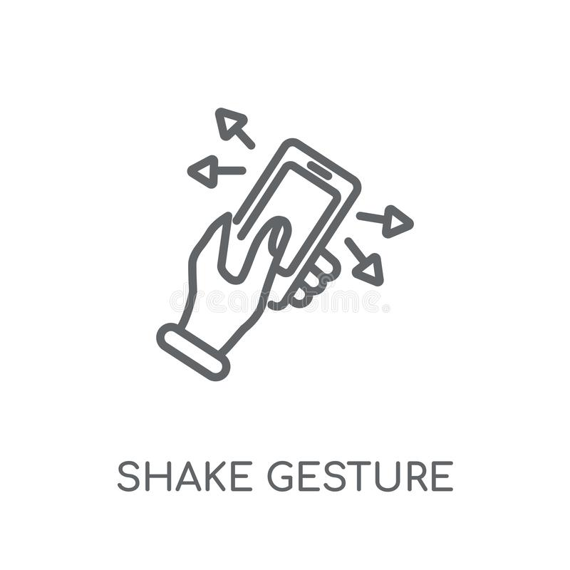 Shake gesture linear icon. Modern outline Shake gesture logo con. Cept on white background from Hands collection. Suitable for use on web apps, mobile apps and royalty free illustration