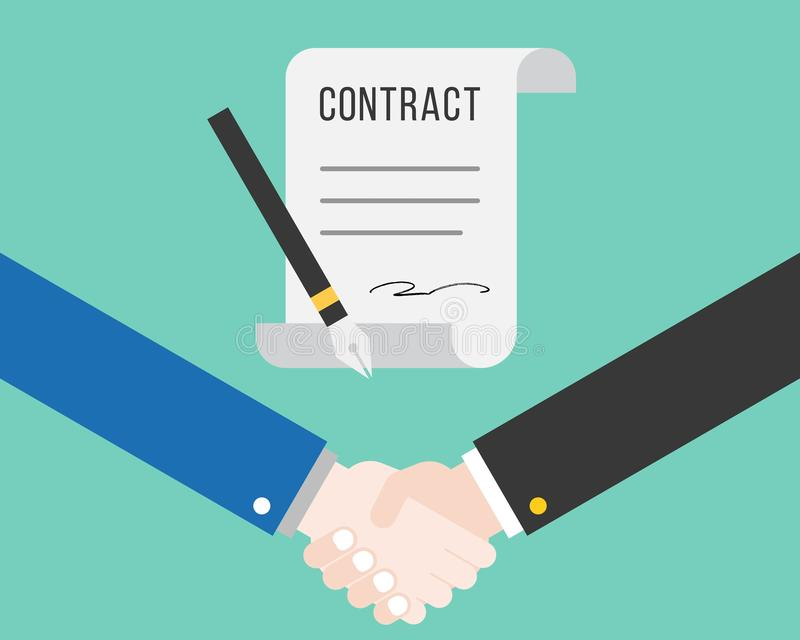 Shake hand and contract with pen, successful deal business concept royalty free illustration