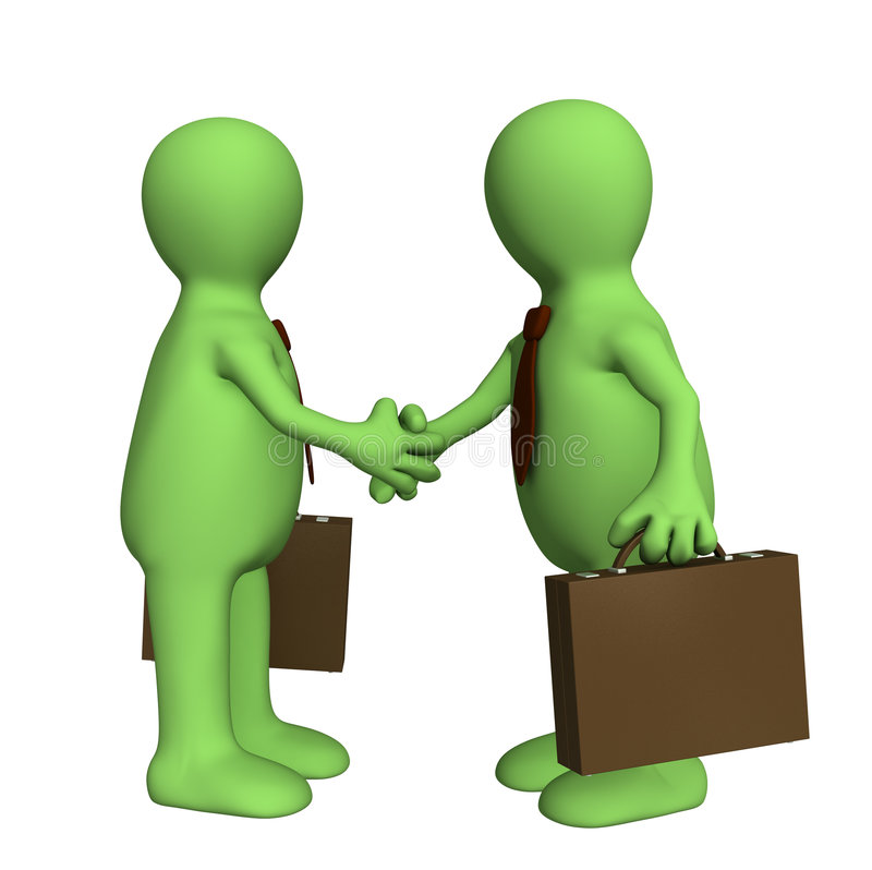 Shake hand of two 3d stylized people. Objects over white royalty free illustration