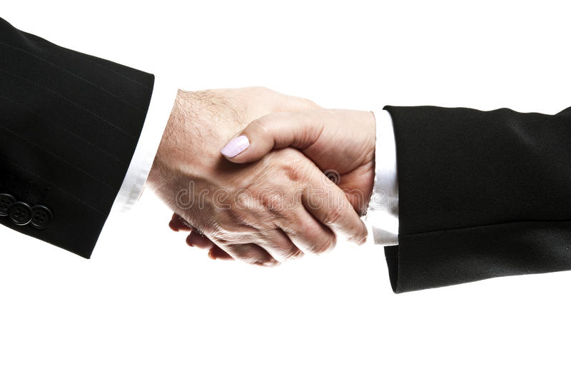 Shake hands. Business people shake their hands stock photography