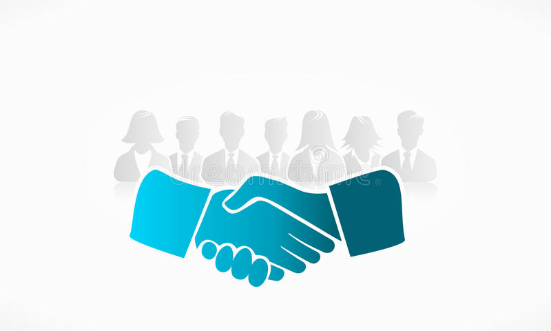 Shake Hands. With group of people in the background stock illustration