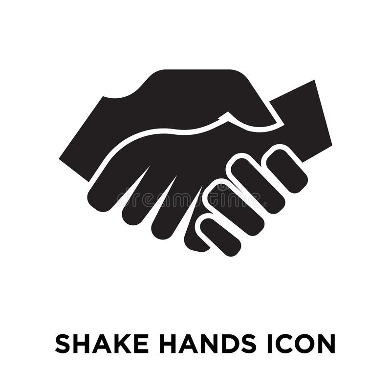 Shake Hands icon vector isolated on white background, logo concept of Shake Hands sign on transparent background, black filled vector illustration