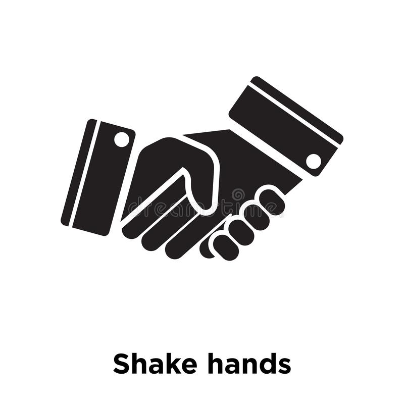 Shake hands icon vector isolated on white background, logo concept of Shake hands sign on transparent background, black filled. Shake hands icon vector isolated stock illustration