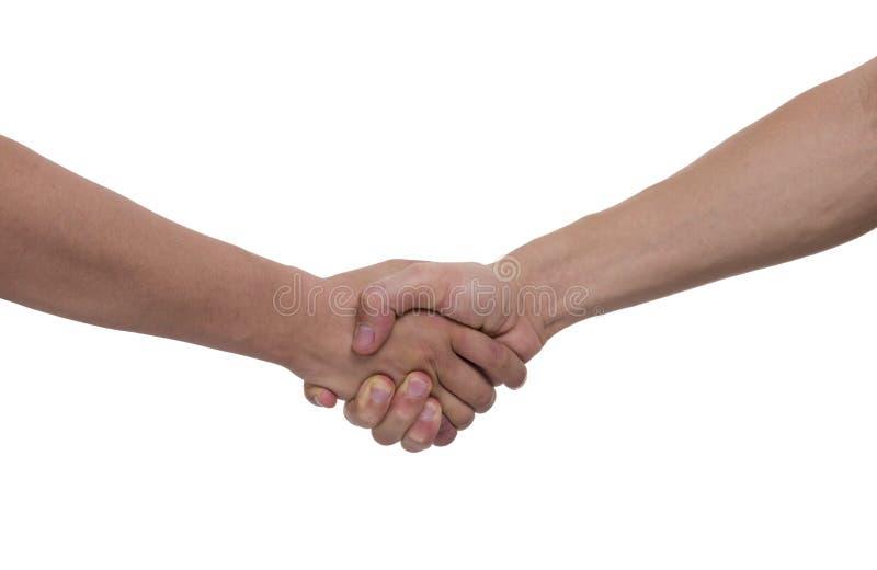 Shake hands. Isolated on white background stock photo