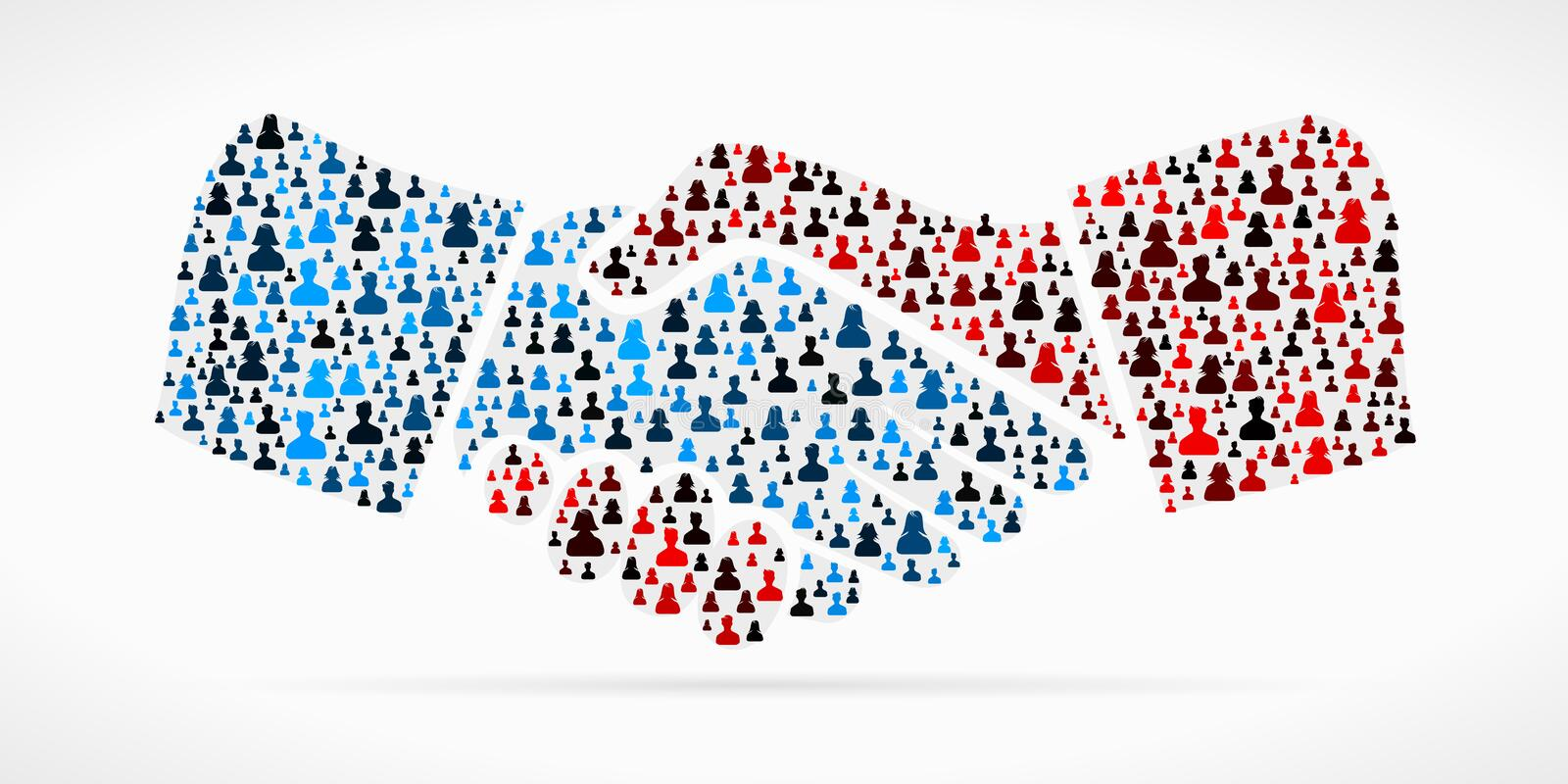 Shake hands. Symbol made out of large group of people stock illustration