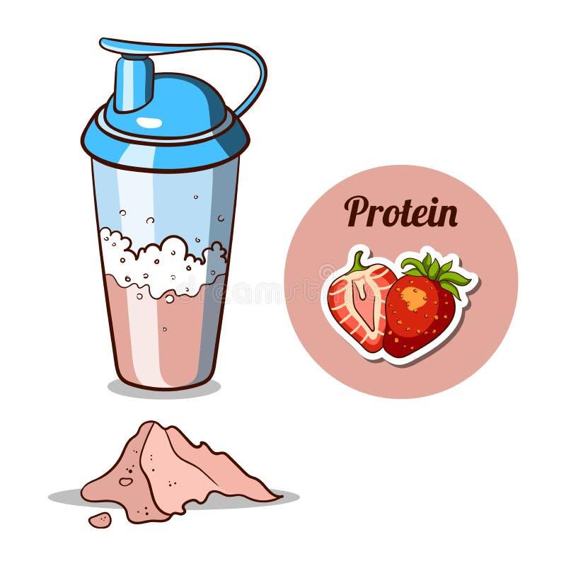 Shaker Strawberry Protein Powder ilustração stock