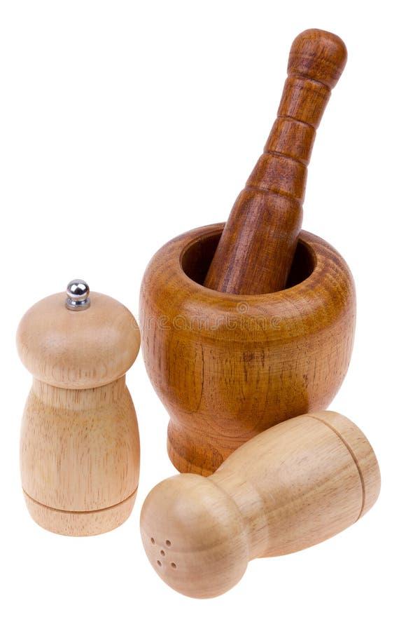 shakers för peppar för clippingmortelbana salt arkivfoton