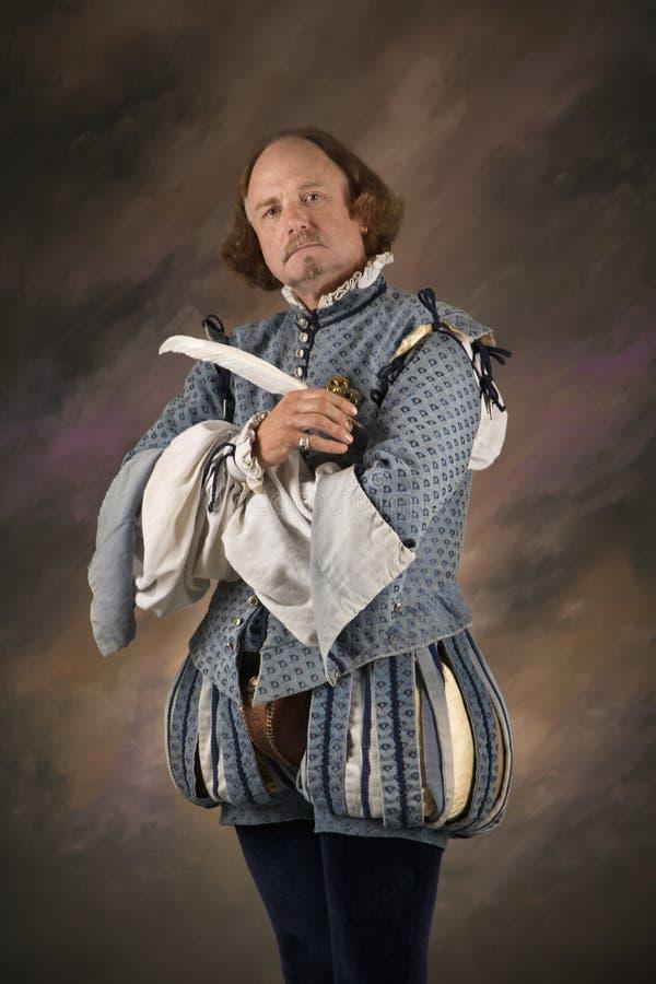 Shakespeare avec le crayon lecteur de cannette. images stock