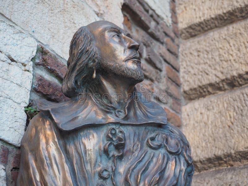 Shakespeare bronze bust in Verona stock photo
