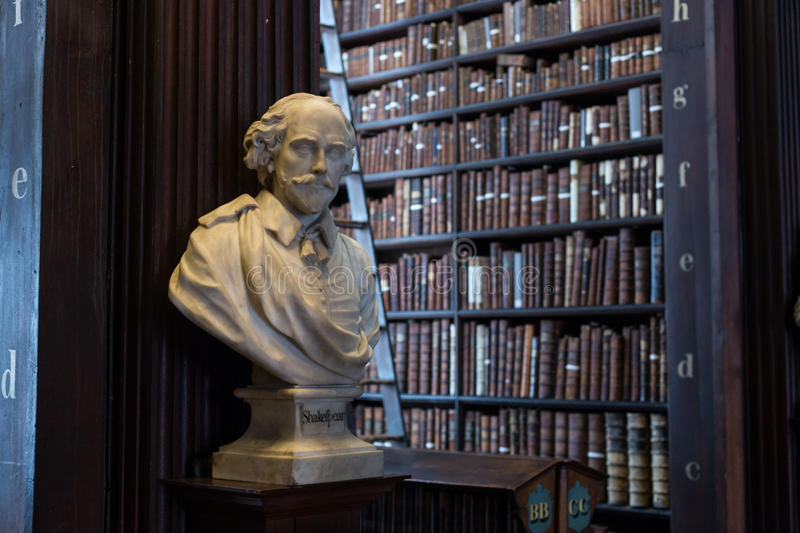 Shakespeare bust in Trinity College royalty free stock photography