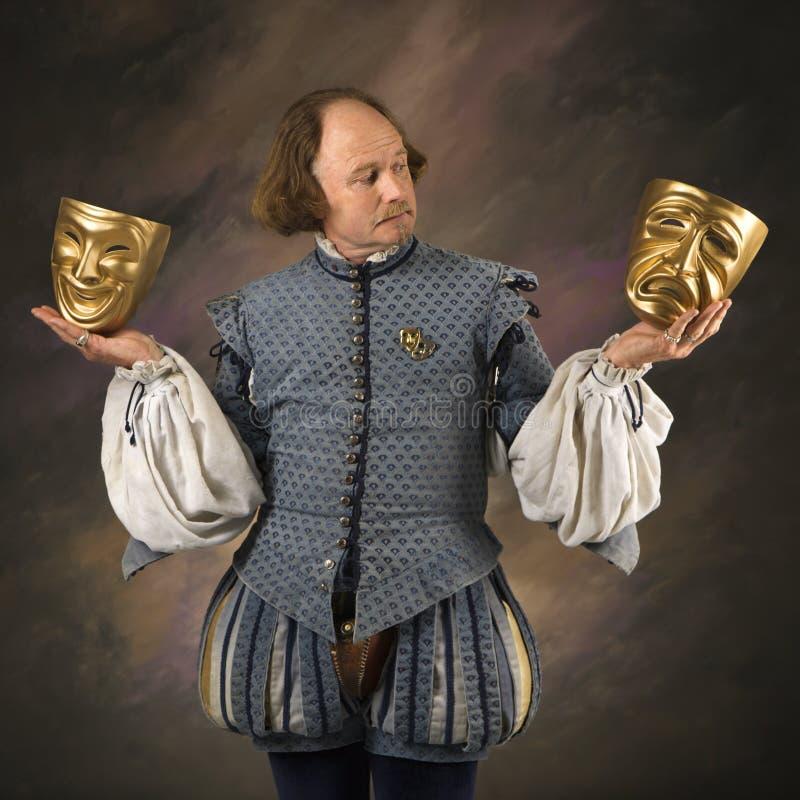 Shakespeare con la máscara fotografía de archivo libre de regalías
