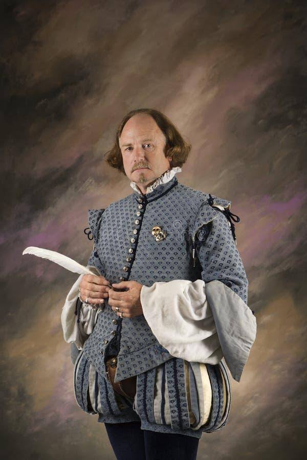 Shakespeare con la pluma de la pluma. imagen de archivo