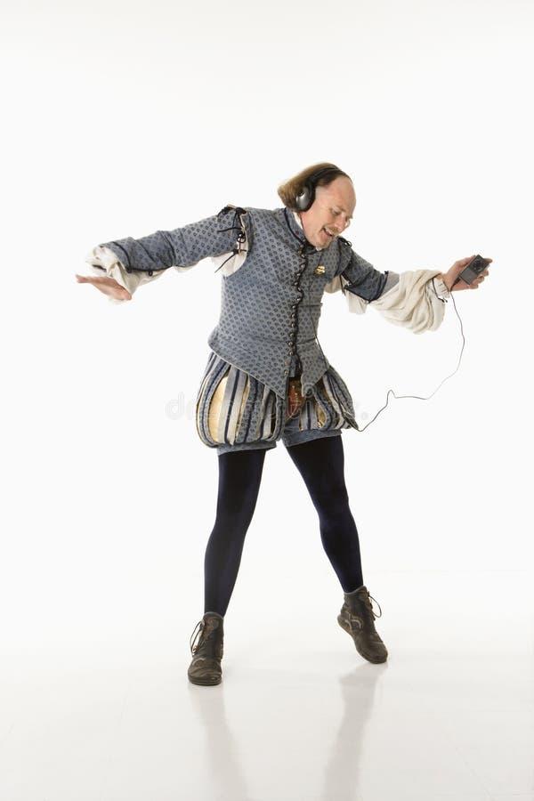 Shakespeare die aan mp3s danst. royalty-vrije stock foto's