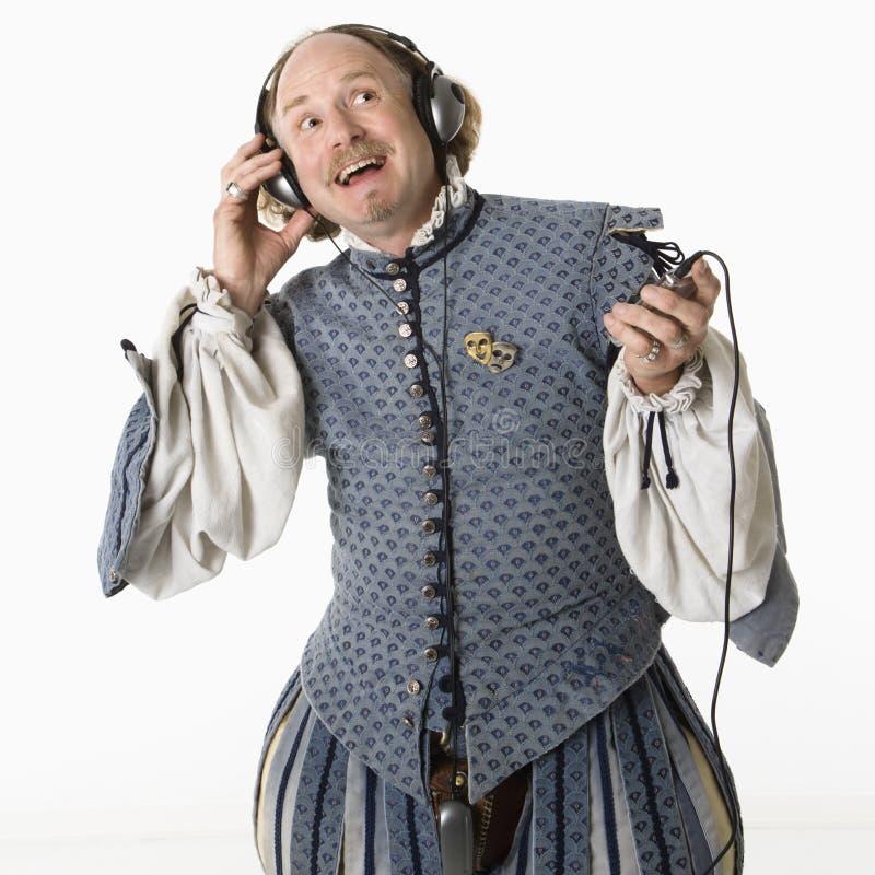 Shakespeare die aan muziek luistert royalty-vrije stock foto