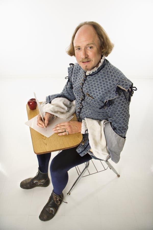 Shakespeare en escritorio de la escuela. imagen de archivo libre de regalías