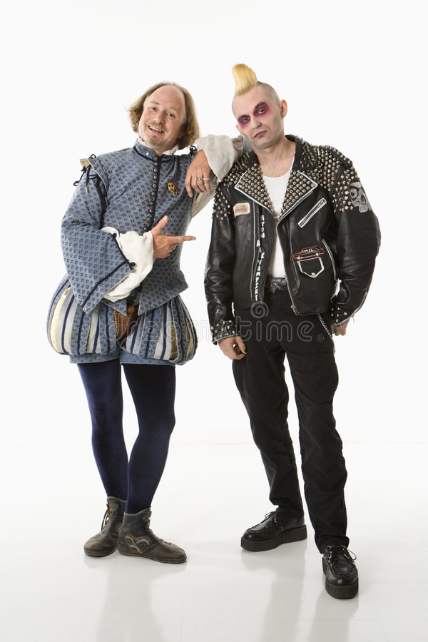 Shakespeare en punker. royalty-vrije stock afbeelding