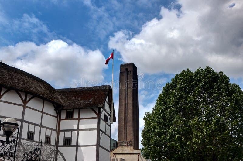Shakespeare Globe Theater, Tate Modern, London, England stock photos