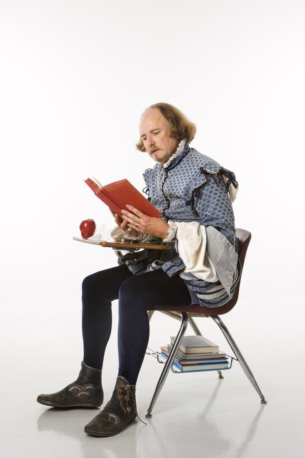 Shakespeare im Schuleschreibtisch. stockfoto