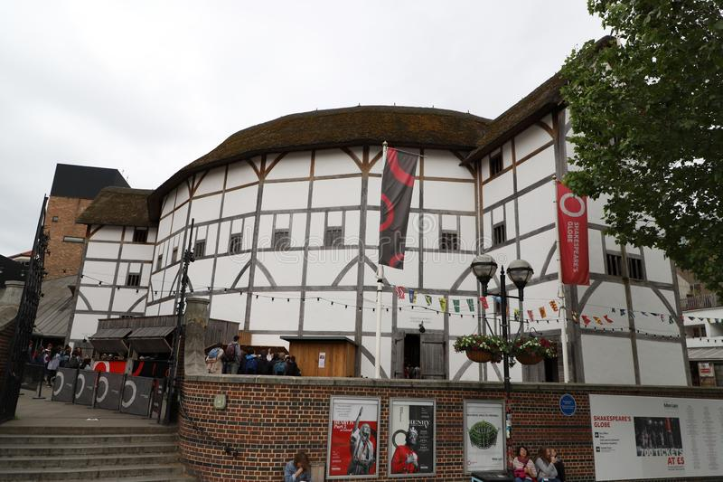 Shakespeare`s Globe Theatre from the street in London, UK stock images