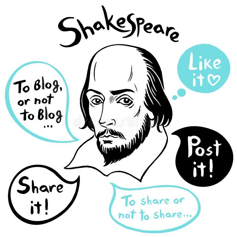 Shakespeare stående med anförandebubblor och roliga stämningar för socialt massmedia vektor illustrationer