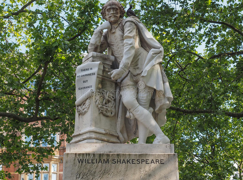 Shakespeare statue in London. Statue of William Shakespeare built in 1874 in Leicester Square in London, UK royalty free stock photos