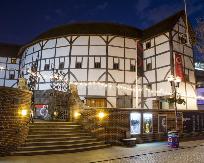 Shakespeares Globe Theatre in London. London, UK - April 1st 2019: A view of the reconstruction of the historic Globe Theatre - an Elizabethan playhouse stock images